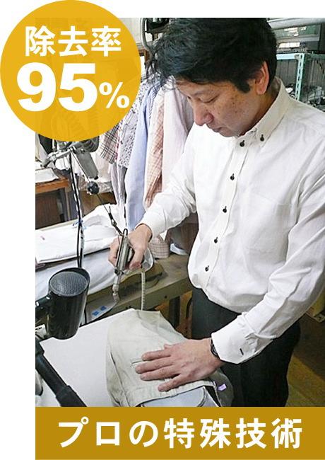 プロの特殊技術 除去率 95%
